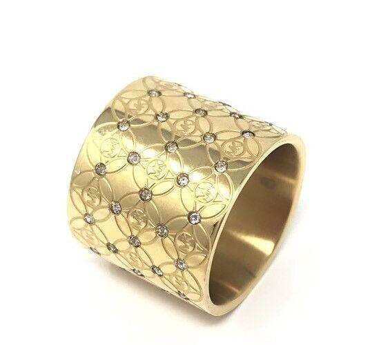 Michael Kors Monogram Heritage Barrel Ring Wide Band MK Gold Size 6 $125