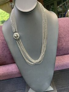 Vintage-4-Strand-Chain-1950-s-Waterfall-Long-Layered-Statement-Sweater-Necklace