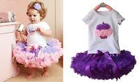 2pcs Girl Baby Kids Cake T-shirt Top+Skirt Tutu Pettiskirt Dress Outfit Clothes