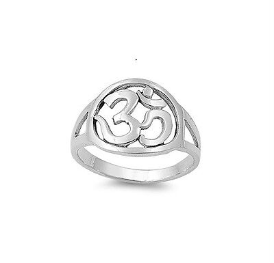 Sterling Silver .925 Om Ohm Aum Round Ring Sizes 5-10