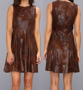 Vince Camuto Brown Wash Distressed Faux Leather Fit Amp Flare Dress 6r