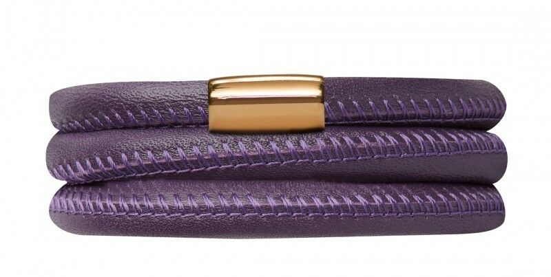 Endless Bracelet Leather Stainless Steel gold-Plated 22 3 8in Purple 12506-57