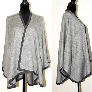 Grey-Cashmere-Poncho-Cape-Large-Scarf-Shawl-Pashmina-Wrap-Warm-Handwoven-Nepal