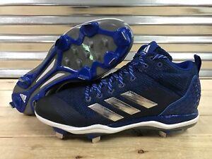 bd68fc8d3b1 Adidas Poweralley 5 Mid Metal Baseball Cleats Royal Blue Silver SZ ...
