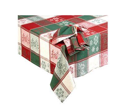 Christmas OVAL Tablecloth 60 x 84 Woven Snowflake Land and ...