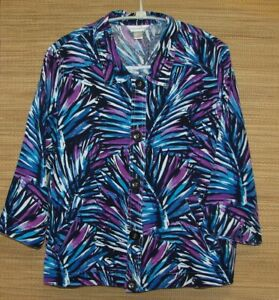 Christopher-amp-Banks-Bright-Multi-Colored-Linen-3-4-Sleeve-Jacket-Size-XL-Pockets
