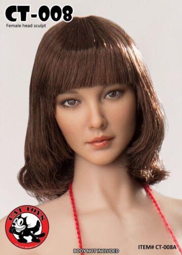 """1//6 Cat giocattoli beauty asiatico CAPELLI CORTI TESTA DI DONNA SCULTURA F12/"""" Action Figure modello"""