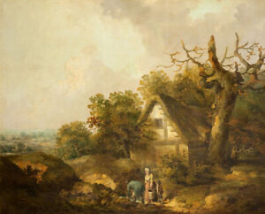 A-Rustic-Cottage-George-Morland-Fine-Art-Print-on-Canvas-HQ-Giclee-Home-Decor-SM