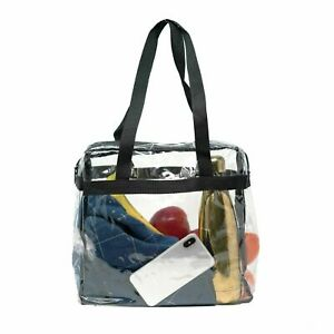 cc913aaab43 Details about Clear Plastic Tote Bag - Stadium Security Approved - Zip Top  Purse - Transparent