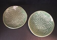 2 Lace Impressed Pottery Plates Signed Rie