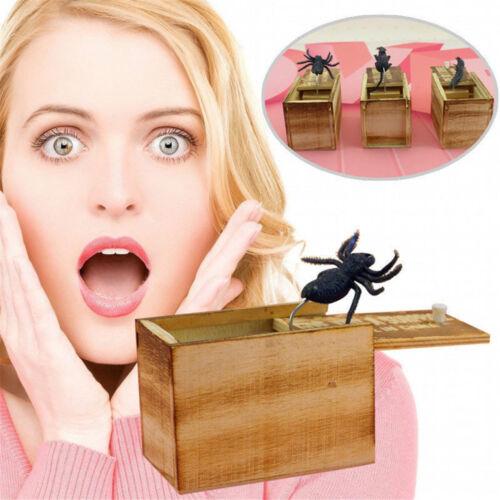 Trick Prank Toy Halloween SPIDER Animal Hidden in Wooden Box Surprise Shock Joke