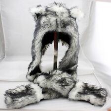 Wolf Animal Hood Hoodie Hat Faux Fur 3 in 1 Function White Fuzzy Ear LONG Flap