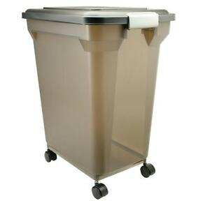 iris large airtight dog cat pet dry food storage container bin 55qt nmp l smoke. Black Bedroom Furniture Sets. Home Design Ideas