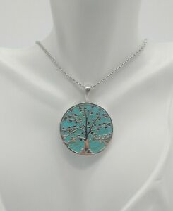 STERLING SILVER TURQUOISE TREE OF LIFE PENDANT NECKLACE
