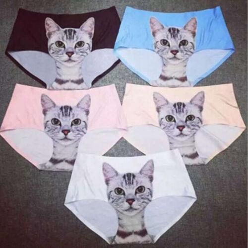 New Ladies Pussy Panties Briefs Knickers Cat Printed Apparel Undies Underwear ra