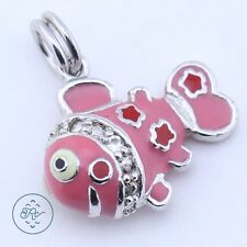 Sterling Silver | Pink ENAMEL Crystal Fish 3.4g | Charm Pendant