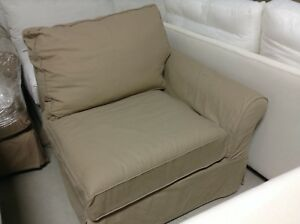 Pottery Barn Pb Comfort Roll Right Arm Sofa Chair Box Poly Walnut