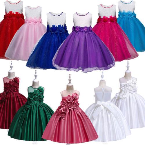Kids Baby Flower Girls Party Sequins Dresses Wedding Bridesmaid Dresses Princess
