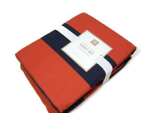 Pottery-Barn-Teen-Cotton-Multi-Colors-Orange-Navy-Rugby-Stripe-Queen-Sheet-Set