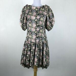 80s Floral Dress Medium Womens Size 8 Tea Dress Puff Sleeve Drop Waist Dress 34 Sleeve Bows Black Pink Purple 1980s Vintage Women Clothing