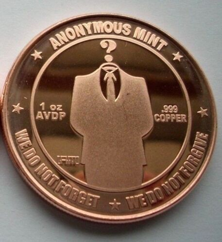 BITCOIN ~ ANONYMOUS MAN ~ 1 OZ SOLID COPPER ROUND ART-COIN ~ ANONYMOUS MINT