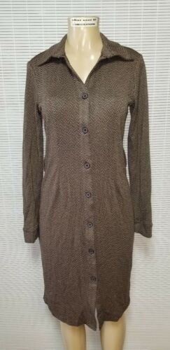 L M APOSTROPHE Women/'s Brown Herringbone Belted Button Up Ponte Dress sz S