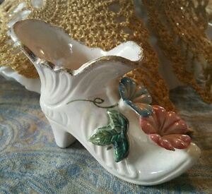 Vintage Floral high heel bootie with made in Japan sticker