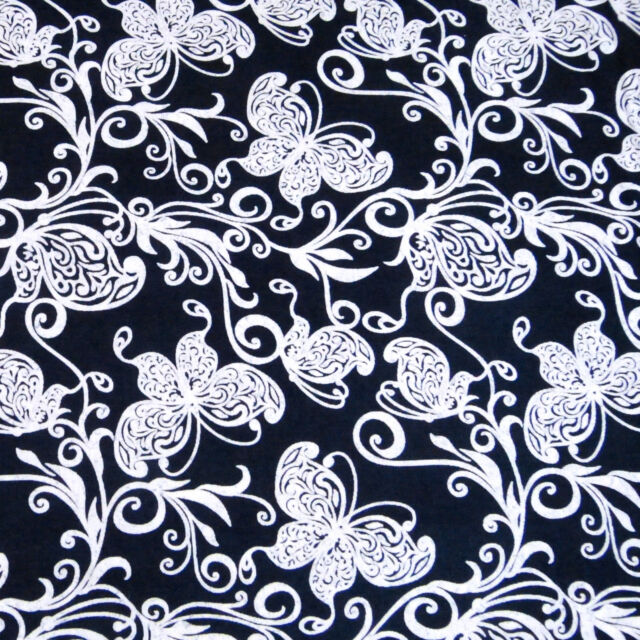 Katagami Indigo Wax Dyed Cotton Fabric Made in Japan Butterfly Floral Per 1/2 Yd