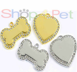 Dog-ID-Tag-Premium-Quality-Diamante-Heart-or-Bone-Pet-Tags-with-ENGRAVED-Options