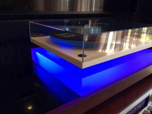 "FOR /""REGA/"" CUSTOM  Acrylic//Plexiglass Turntable Base//Isolation Platform W//LED !"