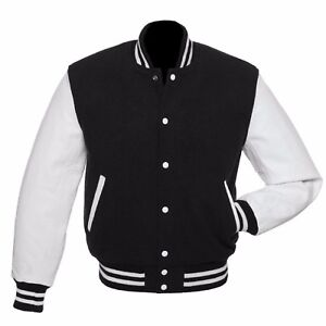 Red Wool Varsity Letterman Bomber Jacket White Real Pure Leather Sleeves 2XS~7XL