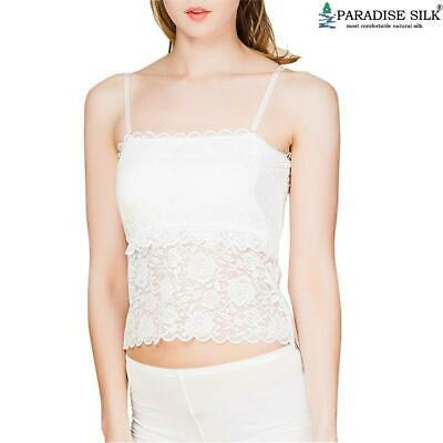 Paradise Silk Pure Silk Knit Womens Lacy Camisole Tank Top