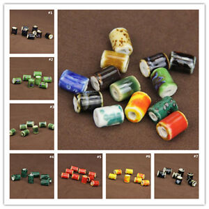 10Pcs-Cylindrical-Charm-Pattern-Ceramic-Porcelain-Loose-Beads-Barrel-10x14mm-New