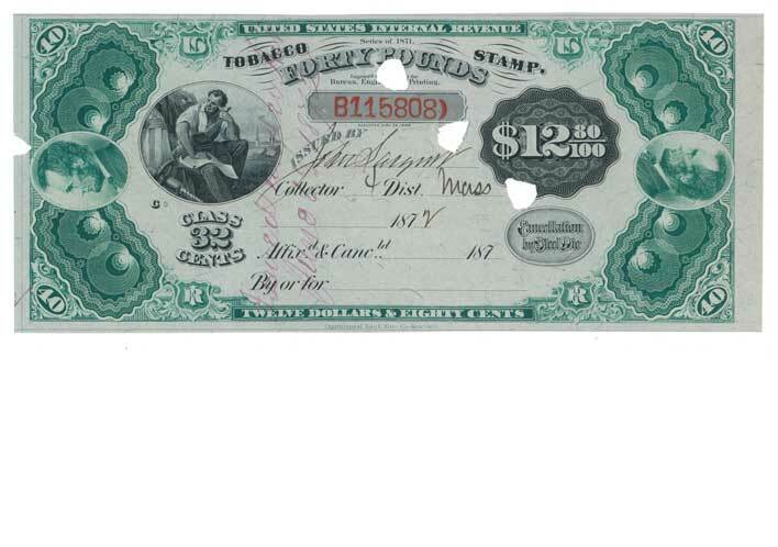 TF59 Series of 1871 Manufactured Tobacco Tax Stamp $12.