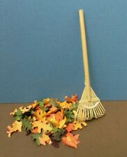 Dollhouse miniature 1:12 scale Pile of mixe fall oak leaves w/ bamboo leaf rake