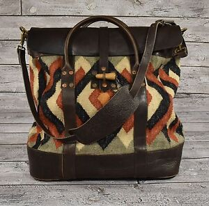 f8d7d98e9f Image is loading Ralph-Lauren-RRL-Vintage-Leather-Wool-Indian-Blanket-