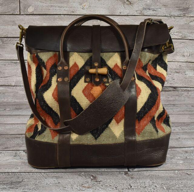 Ralph Lauren Rrl Vintage Leather Wool Indian Blanket Se Overnight Bag New