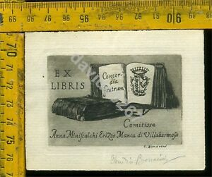 Ex Libris Antico Originale a 878 Contessa Anna Miniscalchi Erizzo Villahermosa QujoI6pT-09164104-722630153