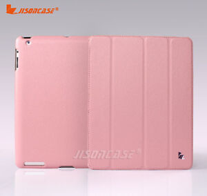 Jisoncase-Wake-Up-and-Sleep-Function-Leather-Case-For-Apple-New-iPad-3rd-Pink