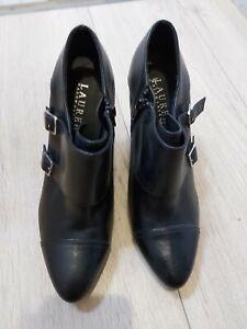 "Bottines boots femme pointure 38 ""Ralph Lauren"", cuir noir, TTBE"