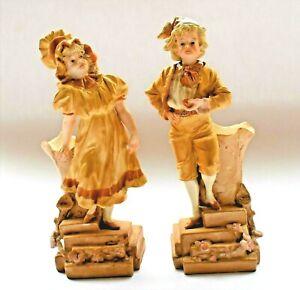 Antique-Ernst-Wahliss-Turn-Wien-Austrian-Porcelain-Figural-Spill-Vase-Set-c1900