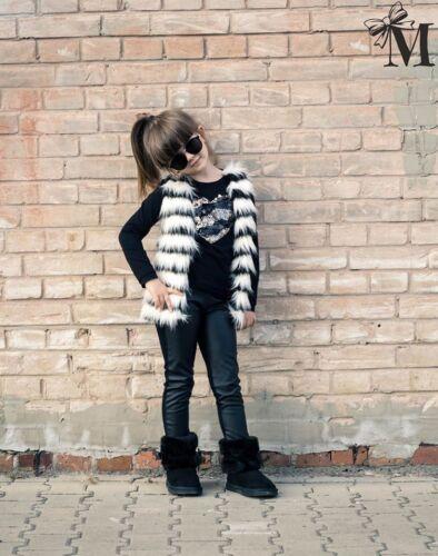 Kinder Weste aus Kunstpelz mit Kontrastfarben  Mädchen MalaMi Neu