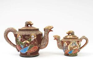 15-Pc-Satsuma-Moriage-Tea-Set-Japanese-Dragonware-Red-Gilt-Geisha-Lithophane