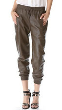 VINCE Relaxed Lambskin Leather Jogging Pants Olive SMALL 4/6  UK 8/10 NEW $1.2K
