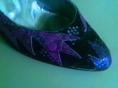 Chaussures Garniture El Passion En Metailic Vaquero Italie Sauvage 8 M Fabriqué Rose Violet Argent wwqapZx