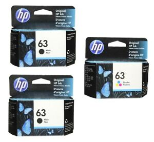 HP #63 3pack Combo 2 Black & 1 Color Ink Cartridge NEW GENUINE
