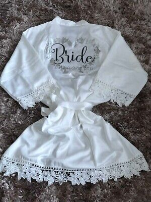 Personalised Bridal Robe Satin Lace Dressing Gown Bride Dressing Gown Ebay