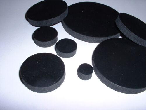 6MM THICK BLACK NEOPRENE ANTI VIBRATION FLAT PAD ROUND DISC RUBBER MOUNTS 4PK