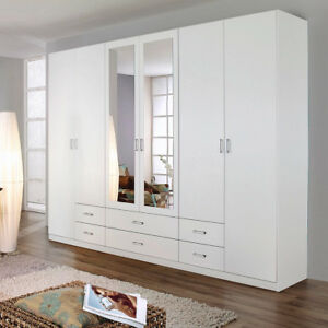kleiderschrank schlafzimmer gammas 6 t rig wei mit schubk sten spiegel ebay. Black Bedroom Furniture Sets. Home Design Ideas