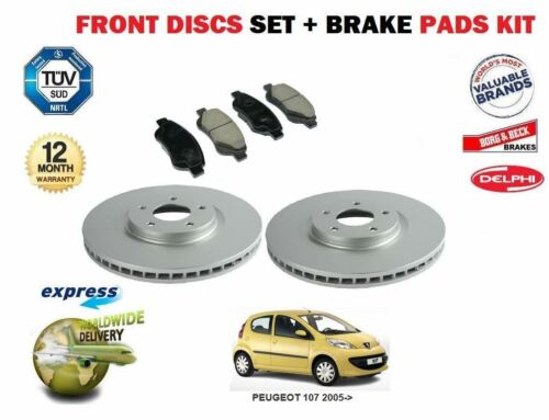 FOR PEUGEOT 107 2005-/>  NEW FRONT BRAKE DISCS SET AND DISC PADS KIT *OE QUALITY*